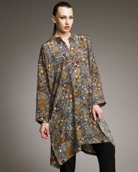 Eskandar | Brown Printed Silk Caftan | Lyst