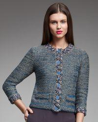 Fendi | Blue Metallic Tweed Jacket | Lyst