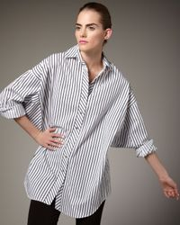 Go> By Go Silk | Blue Striped Big Shirt | Lyst