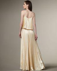 Halston | Natural Pleated Silk Dress | Lyst