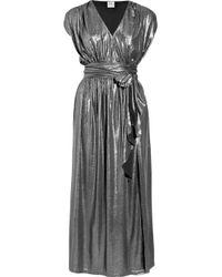 Halston | Metallic Belted Lamé Maxi Dress | Lyst