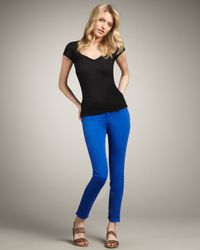 J Brand Blue 811 Mid-rise Skinny Twill Jeans, Royal