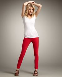 J Brand 811 Mid-rise Skinny Twill Jeans, Bright Red