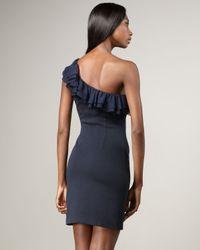 Jay Godfrey Blue St. Tropez One Shoulder Ruffle Dress