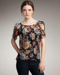 Joie | Blue Eleanor Floral-print Blouse | Lyst
