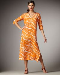 kate spade new york | Orange Amedee Zebra-print Caftan Dress | Lyst