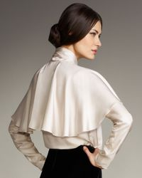 Lanvin | Natural Silk Twill Bow Blouse | Lyst