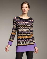 M Missoni | Black Wavy-stripe Sweater Tunic | Lyst