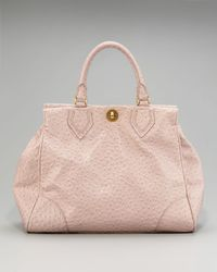 Marc By Marc Jacobs - Pink Lucy Ostrich-embossed Satchel - Lyst