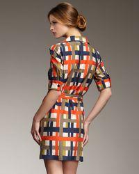 MILLY - Blue Melissa Plaid Silk Shirtdress - Lyst
