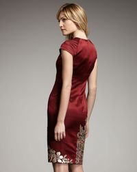 Naeem Khan - Red Floral-applique Satin Dress - Lyst