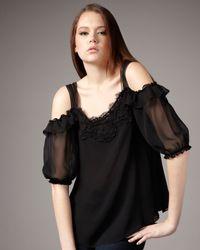 Nanette Lepore | Ladys Secret Chiffon Top, Black | Lyst
