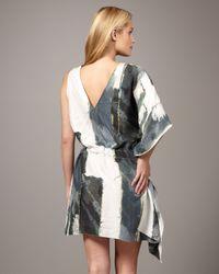 Nicole Miller | White One-sleeve Printed Dress | Lyst