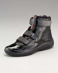 Prada | Black Patent Hi-top Sneaker for Men | Lyst