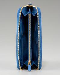 Prada - Blue Vitello Daino Zip-around Wallet - Lyst