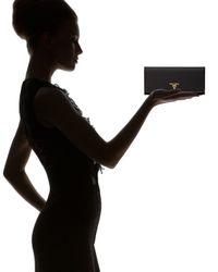 Prada - Black Tessuto and Saffiano Flap Wallet - Lyst