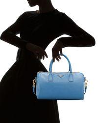 Prada - Blue Saffiano Lux Bowler - Lyst
