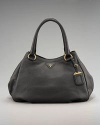 Prada | Brown Cervo Double-handle Hobo | Lyst