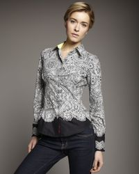 Robert Graham | Black Gaze Lace-print Blouse | Lyst