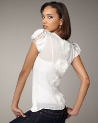 Royal Underground - White Rosette-embroidered Tee - Lyst