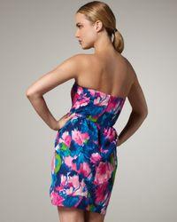 Shoshanna | Multicolor Strapless Tulip-print Dress | Lyst