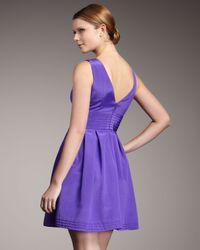 Shoshanna - Purple V-neck Full-skirt Dress - Lyst