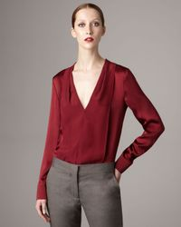Stella McCartney | Red Silk V-neck Blouse | Lyst