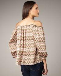 T-bags - Pink Zigzag-print Open-shoulder Top - Lyst