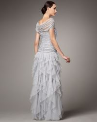 Tadashi Shoji | Gray Shirred Sequin Tulle Gown | Lyst