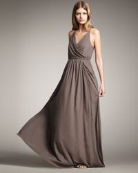 Theory | Brown Jersey Halter Maxi Dress | Lyst