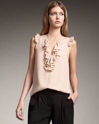 Theory | Natural Ruffle-front Silk Top | Lyst