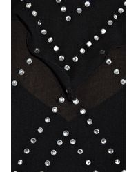 Thomas Wylde Black Haze Embellished Silk-chiffon Top