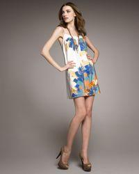 Tibi | White Tie-strap Printed Shift Dress | Lyst