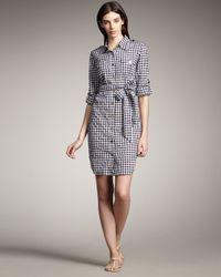 Tory Burch | Blue Brigitte Gingham Mini Dress | Lyst