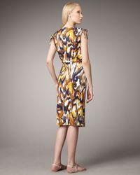 Tory Burch Brown Verda Silk Jersey Printed Drawstring Dress