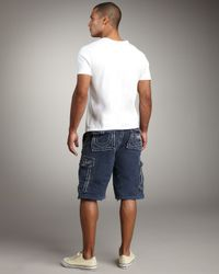 True Religion - Blue Isaac Cargo Shorts for Men - Lyst