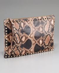 Valentino | Brown Floral-Print Leather Clutch | Lyst
