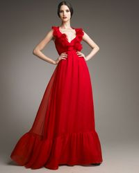 Valentino - Red Bow-waist Voulant Gown - Lyst