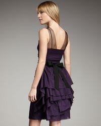 Vera Wang Lavender | Purple Illusion Top Beaded-belt Dress | Lyst