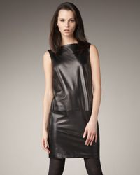 Vince | Black Leather Boat-neck Dress | Lyst