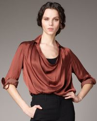 Vince | Red Cowl-neck Satin Blouse | Lyst