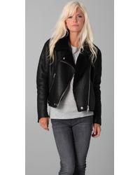 Acne | Black Rita Shearling Paw11 Jacket | Lyst