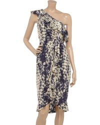 Gryphon Blue Printed Silk-georgette Dress