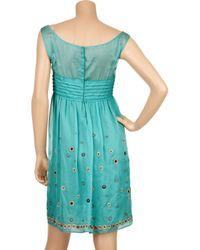Philosophy di Alberta Ferretti Blue Embellished Silk-chiffon Dress