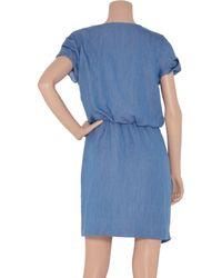 Tibi | Blue Chambray Angel Wrap Belt Dress | Lyst