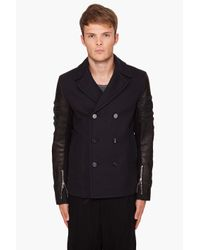 3.1 Phillip Lim | Black Braided Sleeve Peacoat for Men | Lyst