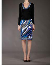 Emilio Pucci Blue Pencil Skirt
