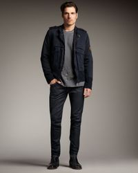 Just Cavalli - Blue Mandarin-collar Jacket for Men - Lyst