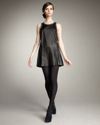 Theory | Black Sleeveless Crinkled Leather Dress | Lyst