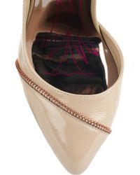 Zandra Rhodes Natural Hattie Zip-embellished Patent-leather Pumps